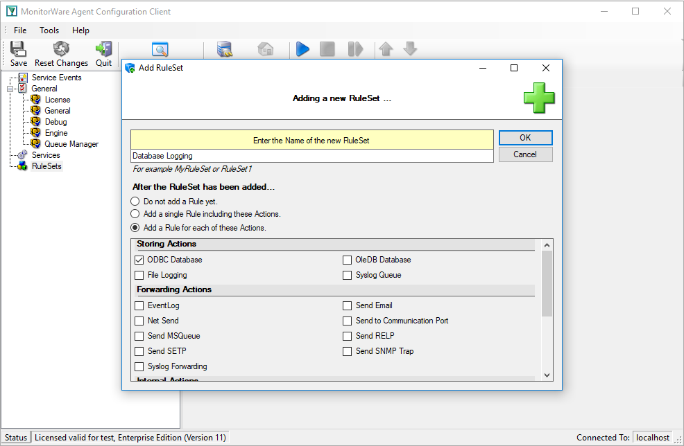 Creating a Ruleset for Database Logging - Adiscon